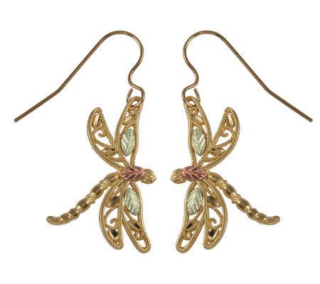 Black Hills Delicate Dragonfly Earrings 10k 12k 14k Gold