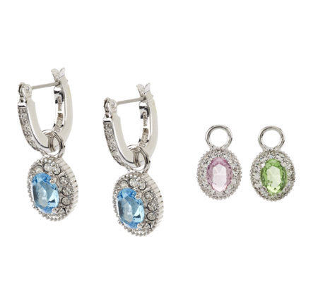 Jacqueline Kennedy Interchangeable Simulated Stone Earrings