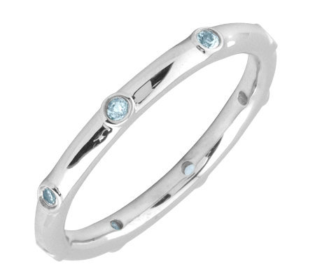 Simply Stacks Sterling Aquamarine Multi-stone Stackable Ring