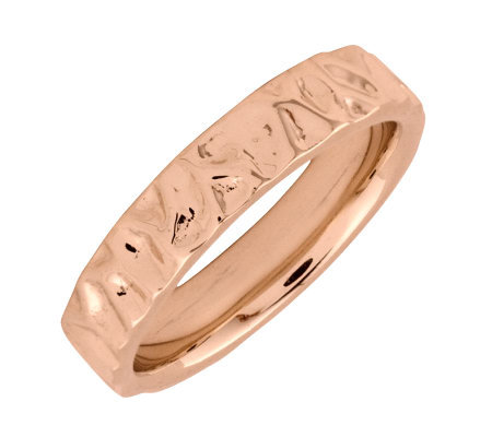 Simply Stacks Sterling 18k Rose Gold Plated Wave 4 25mm Ring