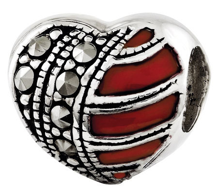 Prerogatives Sterling Marcasite Heart-shaped Textured Bead