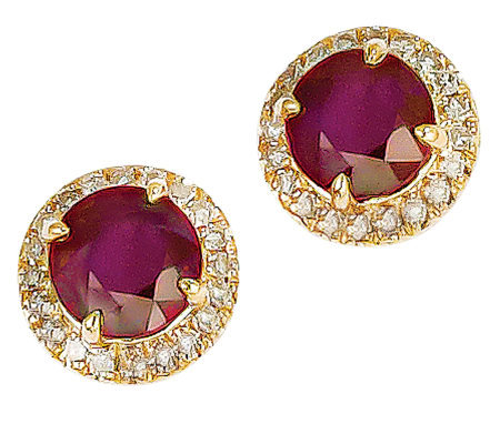 2.10ct tw Ruby & 1/5 ct tw Diamond Halo Stud Earrings, 14K
