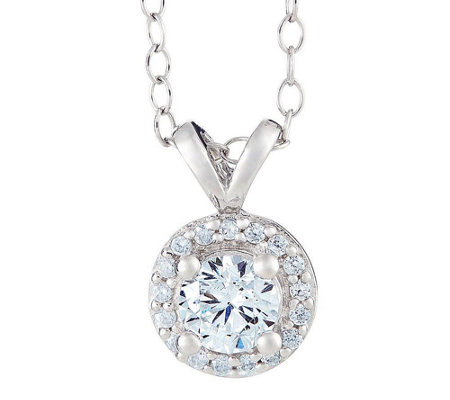 Round Halo Diamond Pendant, 14K Gold, 1/2 cttw,by Affinity