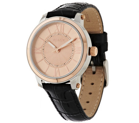 Vicence Roman Numeral Round Case Leather Strap Watch, 14K