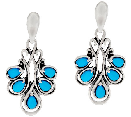 Carolyn Pollack Sleeping Beauty Turquoise Sterling Silver Drop Earrings