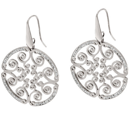 Stainless Steel Polished Round Cut-out Dangle Earrings