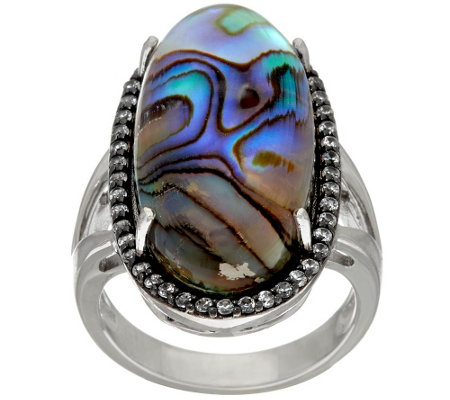"""As Is""Graziela Gems Abalone Doublet & White Zircon Sterling Ring, 0.45 cttw"