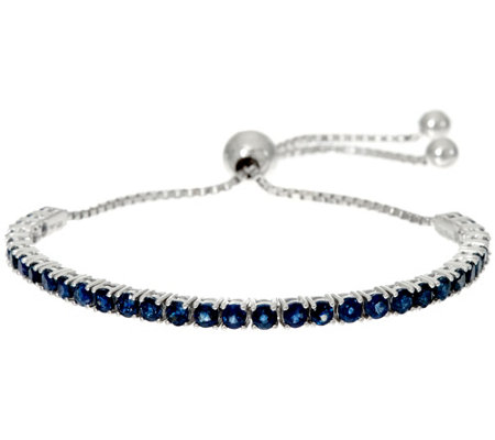 Precious Gemstone Sterling Silver Adjustable Tennis Bracelet