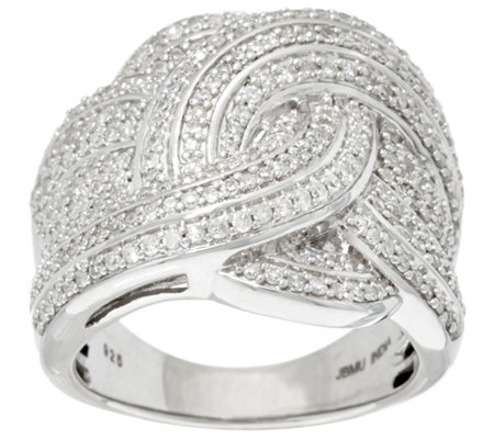 """As Is"" Woven Design White Diamond Sterl. Ring 1.00 cttw by Affinity"