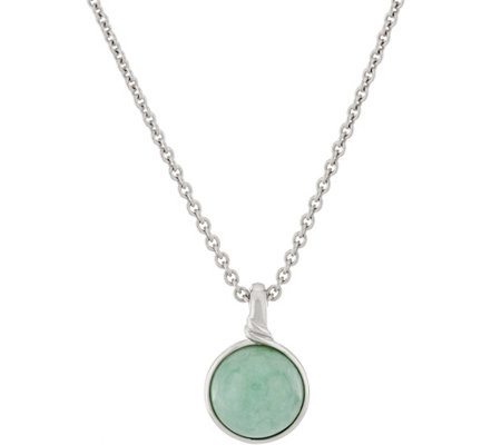 "Jade Round Sterling Silver Enhancer on 18"" Chain"