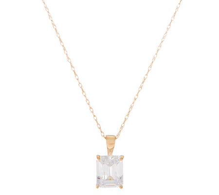 Diamonique 2.00 ct Emerald Solitaire Pendant, 14K Gold