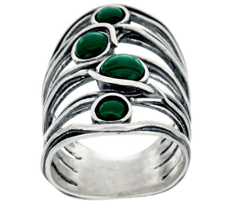 """As Is"" Or Paz Sterling Silver Gemstone Cabochon Ring"