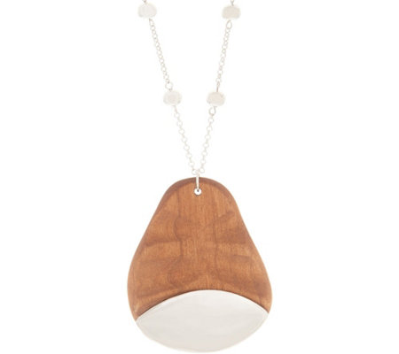 "Linea by Louis Dell'Olio 19"" Wooden Pendant Drop Necklace"