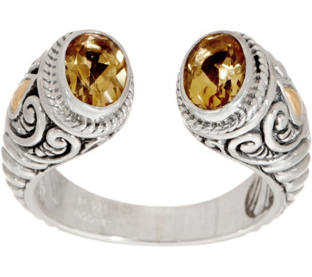 Artisan Crafted Sterling Silver & 18K Gold Gemstone Cuff Ring