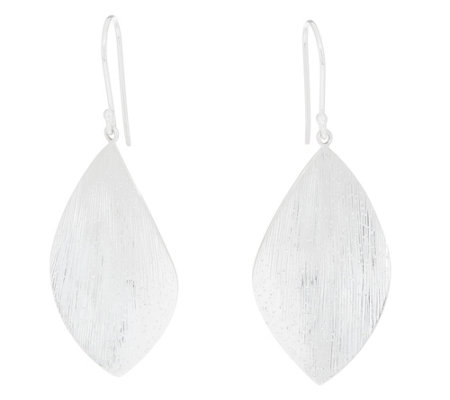 Sterling Silver Textured Marquise Shaped Drop Earrings by Silver Style