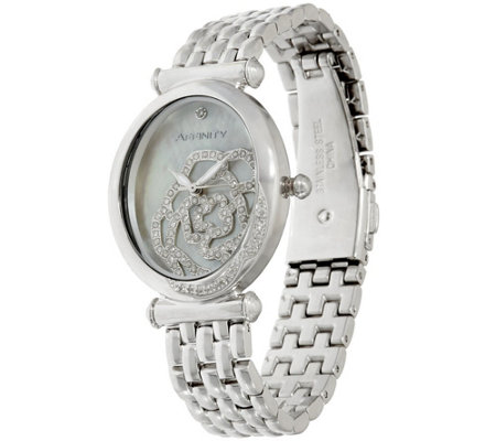 """As Is"" Rose Encrusted Diamond Watch, Stainless 1/2ct tw by Affinity"