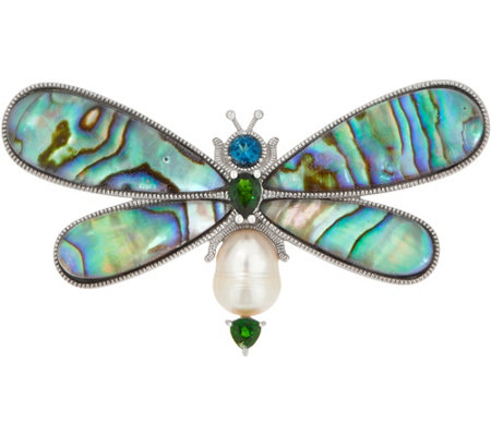 Gemstone Dragonfly Pin/Pendant, Sterling Silver