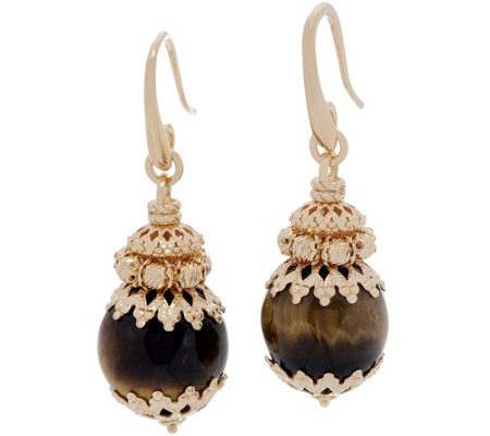 Italian Silver Beaded Gemstone Drop Earrings 18K Gold Plated