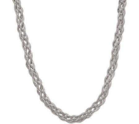 "Italian Silver 18"" Braided Snake Necklace, Sterling, 15.9g"