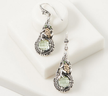 Artisan Crafted Sterling Silver & 18K Gold Prasiolite Frog Earrings