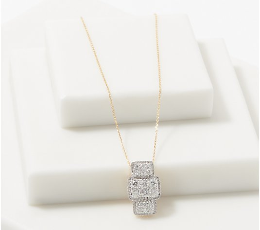 Affinity 14K Gold Elongated Cushion Diamond Necklace, 3/4 cttw