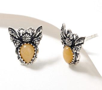 American West Sterling Silver Gemstone Garden Critter Earrings - J367198