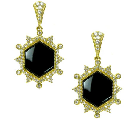 Judith Ripka 14K Clad Diamonique & Onyx Earrings