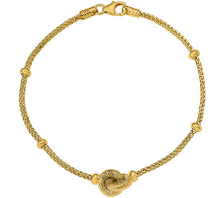 Italian Gold Interlocking Wheat Bracelet 14K, 3.4g