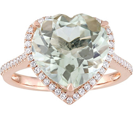 14K 4.60 ct Green Quartz & 1/4 cttw Diamond H eart Halo Ring