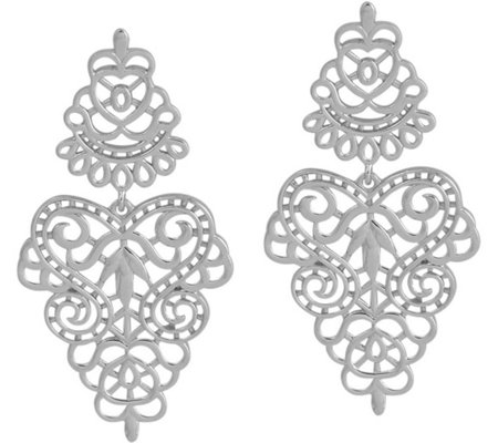 Sterling Filigree Dangle Earrings by Silver Style