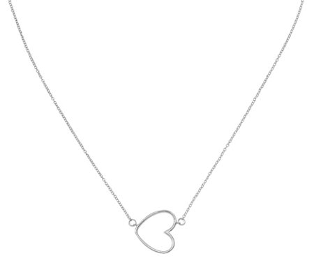 Sterling Oversized Open-Heart Necklace by Silver Style