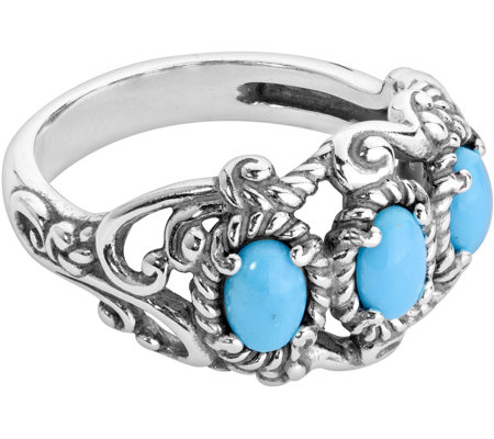 Carolyn Pollack Sterling Sleeping Beauty 3-Stone Band Ring