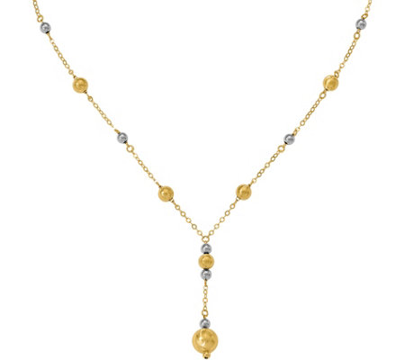 Italian Gold Two-Tone Bead Station Drop Necklace, 14K