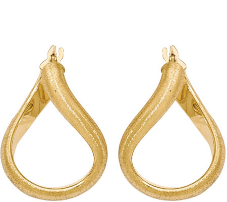 "Italian Gold 1"" Satin Oval Hoop Earrings 14K, 2.4g"