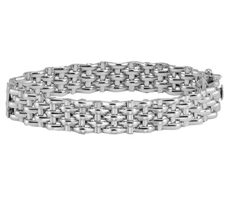Italian Silver Five-Row Panther Bracelet, 15.1g