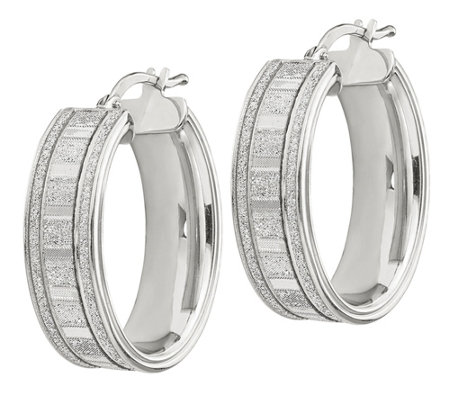 Italian Silver Glimmer Oval Hoop Earrings