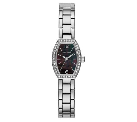 Caravelle Women's Oval Mother-of-Pearl BraceletWatch