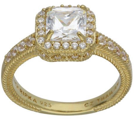 Judith Ripka 14K-Clad 1.90-Carat Cushion-Cut Diamonique Ring