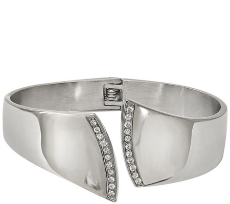 Stainless Steel Crystal Hinged Cuff