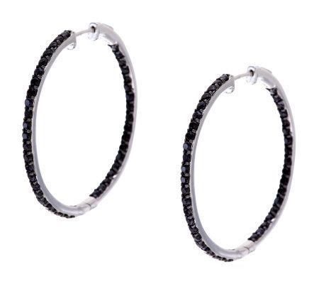 3 00 Ct Tw Black Spinel Inside Out 1 1 2 Sterling Hoop Earrings