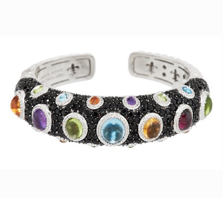 Judith Ripka Sterling 10.80 cttw Multi-Gemstone Hinged Cuff
