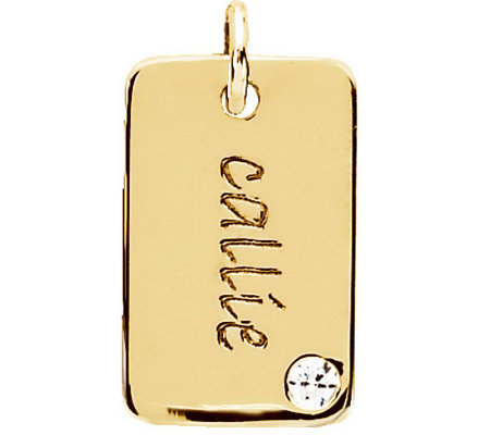 Posh Mommy 18K Gold-Plated Mini Dog Tag Sim Birthstone Pendan