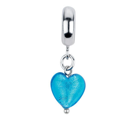 Prerogatives Blue Italian Murano Heart Dangle Glass Bead
