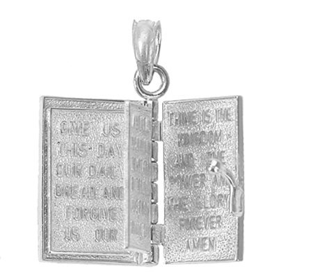 Holy Bible Book Pendant Sterling