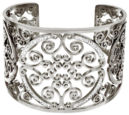 Stainless Steel Medallion Cut-out Crystal Cuff