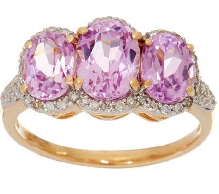 Oval Kunzite & Pave' Diamond 3-Stone Ring, 14K Gold 2.85 cttw