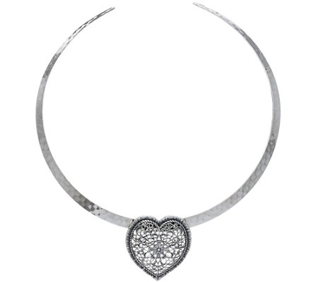 Sterling Silver Lace Design Heart Pendant with Omega by Or Paz 23.0g