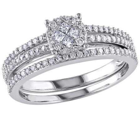Round Cluster Diamond Ring Set, 14K White Gold,by Affinity
