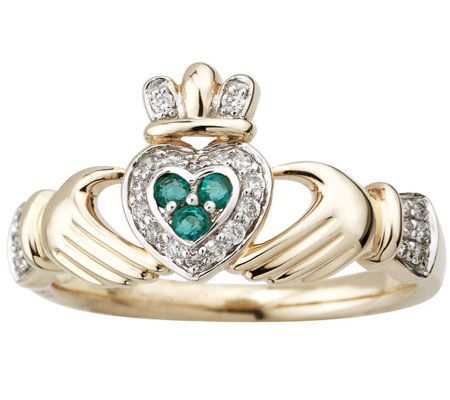 Solvar Diamond and Emerald Claddagh Ring, 14K Gold