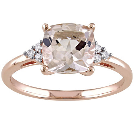 2.00 ct Morganite & Diamond Accent Ring, 14K Rose Gold